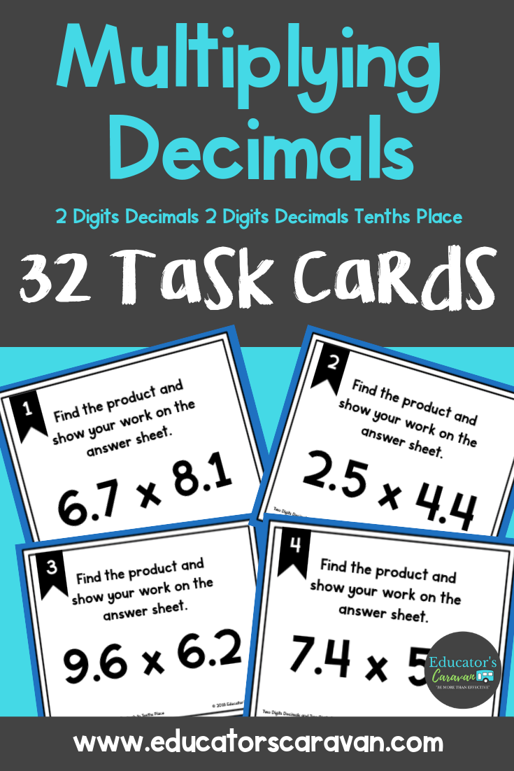 Students Will Practice Multiplying Decimals With These Multiplication Decimals Two Digit Decimals And Two Di Multiplying Decimals Math Decimals Math Task Cards [ 1102 x 735 Pixel ]