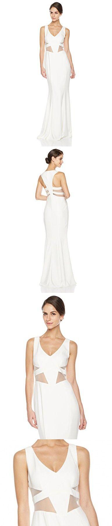 Social Graces Womens V-Neck Sleeveless Mesh Waist Cutout Stretch Crepe Mermaid Skirt Maxi Dress Gown