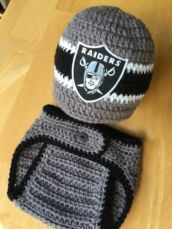 e9152cd78 Oakland Raiders Baby Boy Knit Crochet Hat and Diaper Cover Newborn Coming  Home Outfit Baby Shower Gi