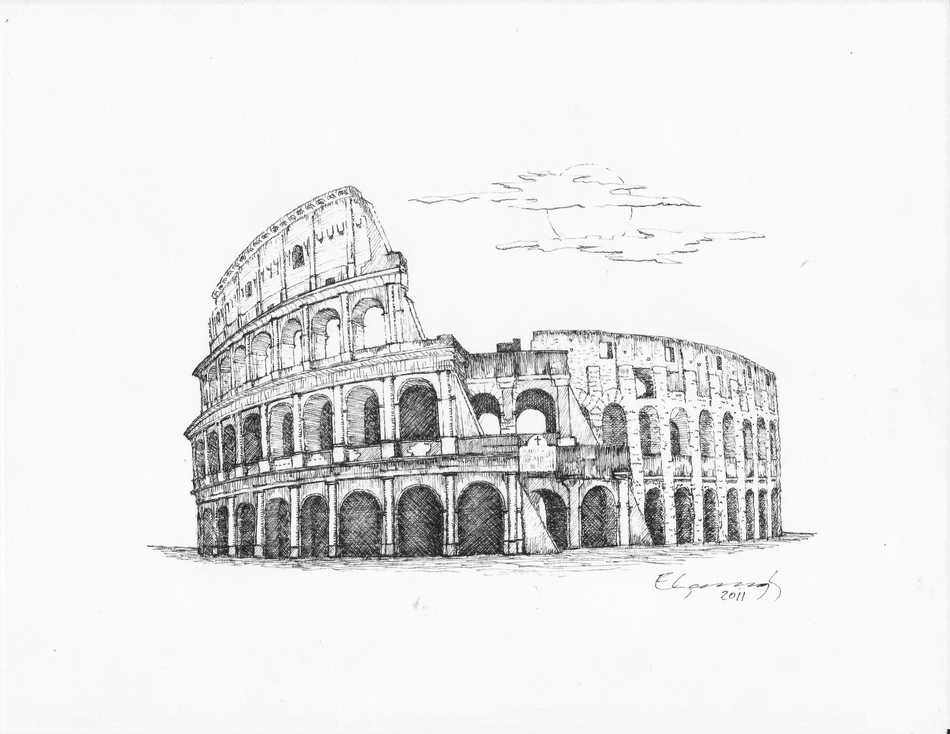 Coliseo En Roma Dibujos Dibujos A Lápiz Bocetos Tatuajes Y
