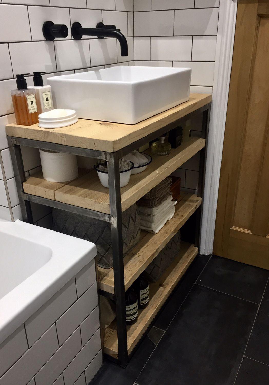 Industrial Style Bathroom Basin Vanity Unit Cabinet Industrial