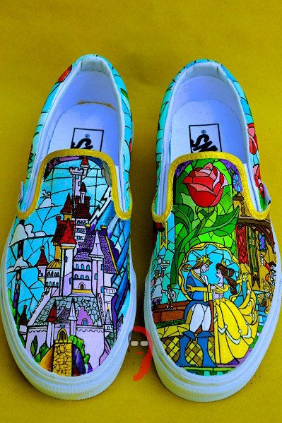 61e038ce41 Stained Glass Beauty and The Beast Vans by ATattooedLosersArt ...
