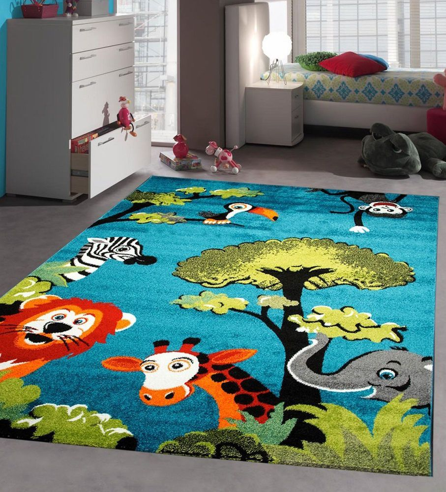 Kids Rug Blue Jungle Nursery Rugs Unisex Children Bedroom Carpet 120x170 80x150 is part of Kids bedroom Rug -