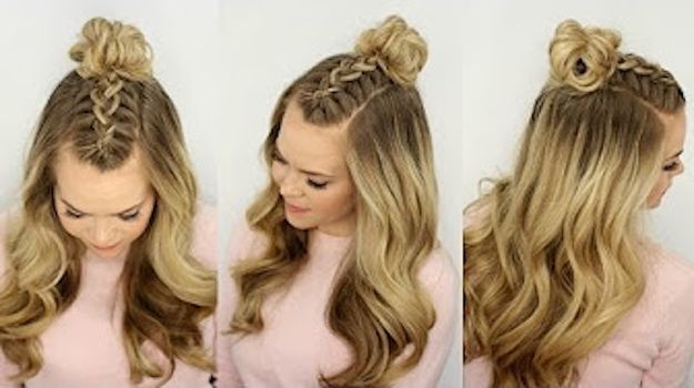 25 Easy Half Up Half Down Hairstyle Tutorials For Prom The Goddess Braided Top Knots Top Knot Hairstyles Braided Hairstyles Tutorials