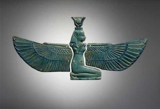 Egyptian, Third Intermediate period; Dynasty 21; Dynasty 22, Winged Isis pectoral, around 1075-712 BCE, Egyptian faience; ceramic