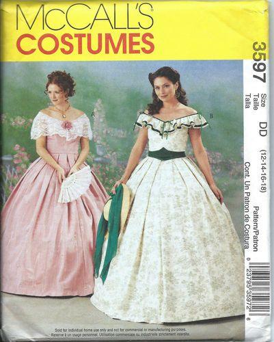 Mccalls 3597 pattern civil war scarlet o\'hara gown size 12-18-uncut-oop