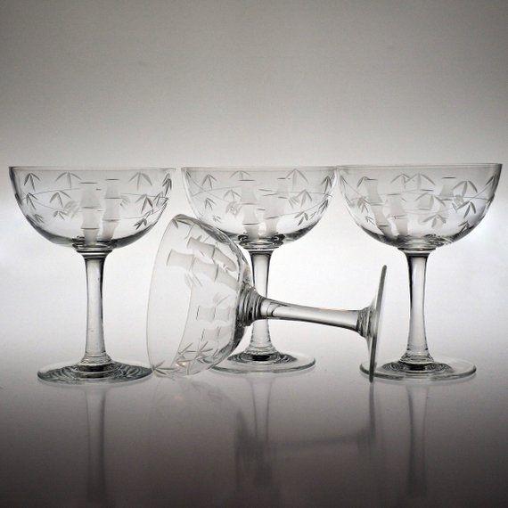 Noritake Sasaki Bamboo Set 4 Wine Goblet 3 oz Crystal Etched Asian Mid Century