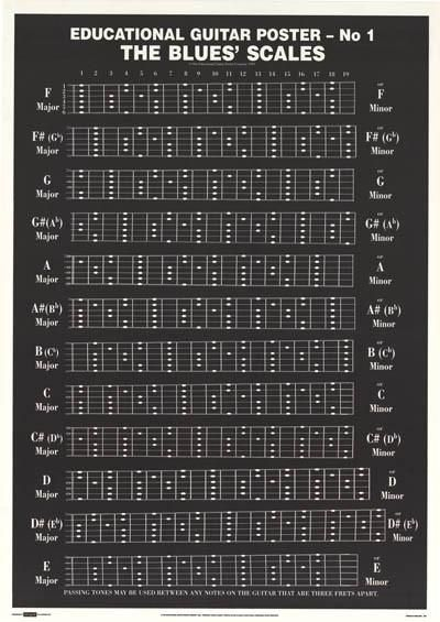 Blues Scales Guitar Education Poster 25x36   Blues scale, Guitars ...