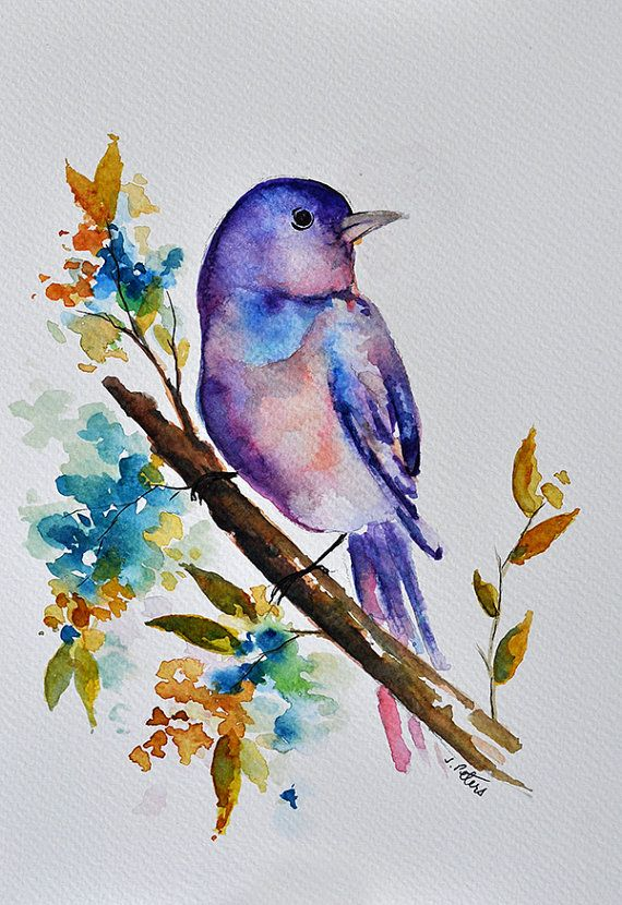Original Watercolor Bird Painting Pastel Purple Bird With