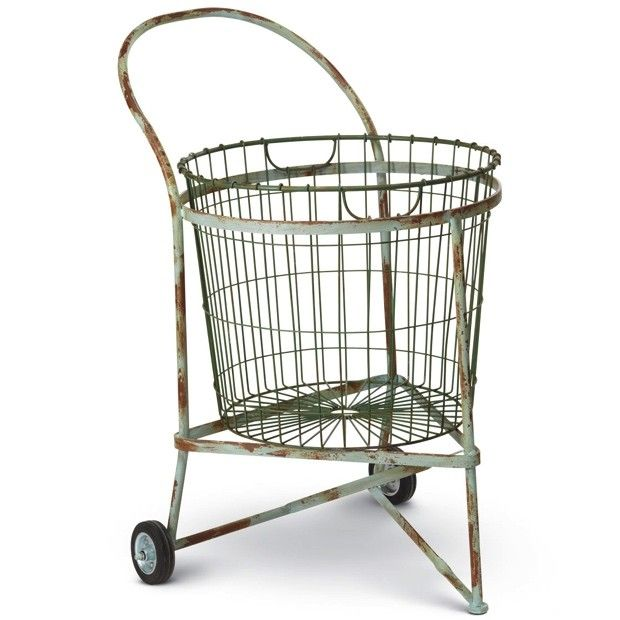 two wheel vintage style laundry cart - Laundry Carts