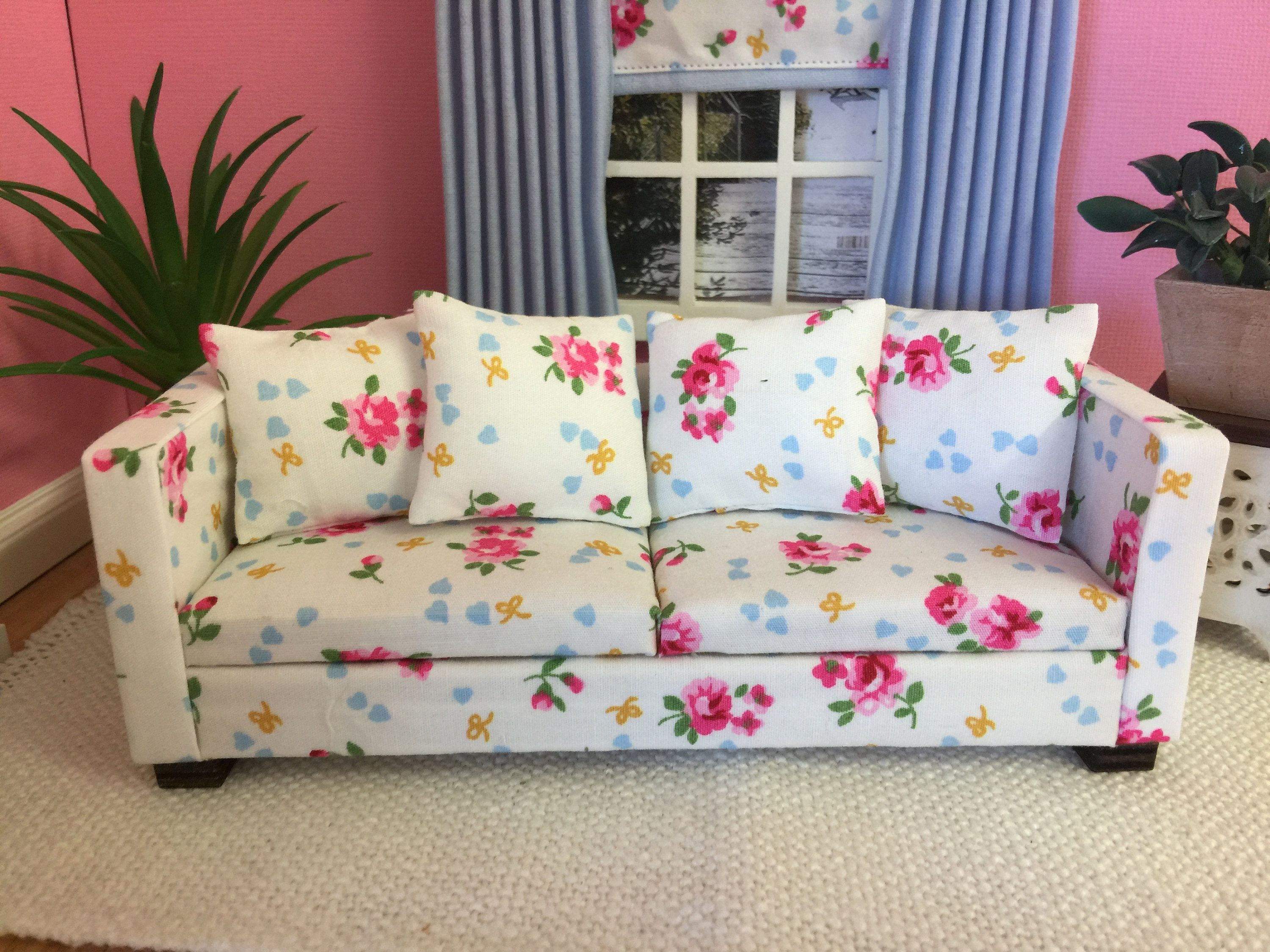Handmade Miniature Doll House 12th Scale 1 12 Modern Wooden Framed Laura Ashley Style Floral Sofa Couch And Armchair With Throw Cushions In 2020 Floral Sofa Doll House Handmade Miniatures