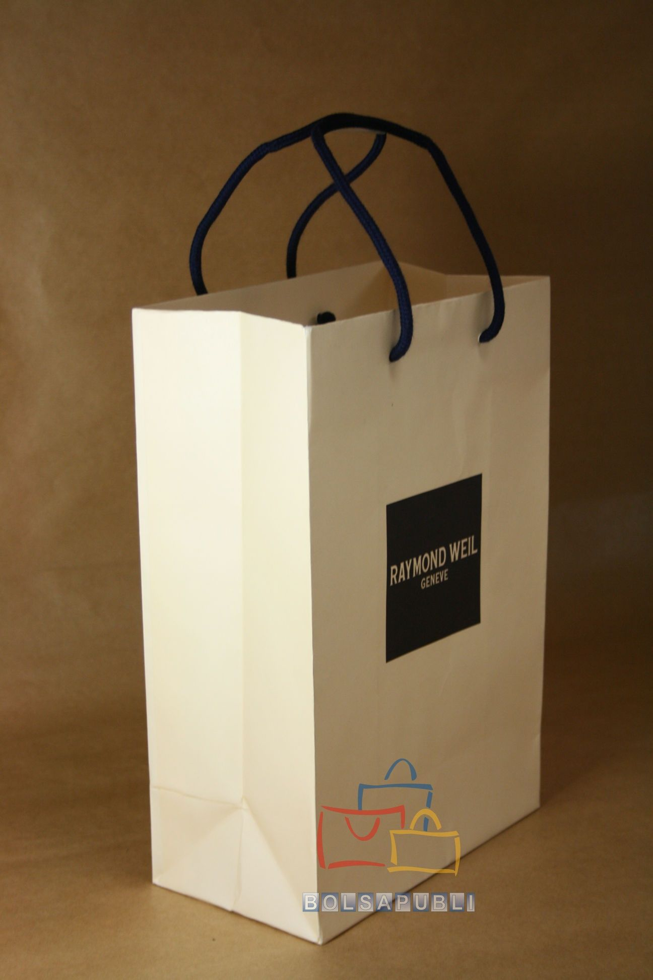Bolsa papel basic fuelle asa cordón color