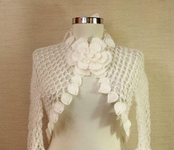 Wedding Shrug, White Crochet Shrug, Bridal Shrug Bolero, Wedding ...