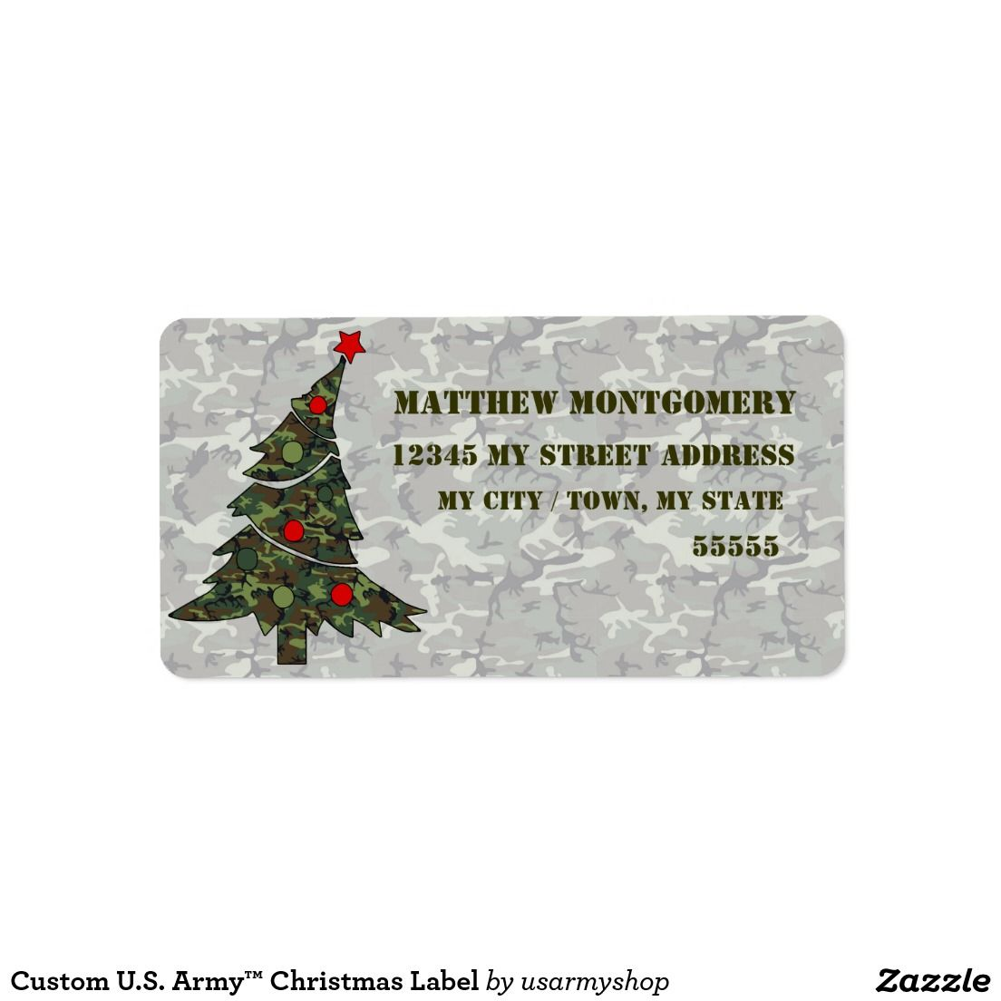 Custom U.S. Army™ Christmas Label Address Label