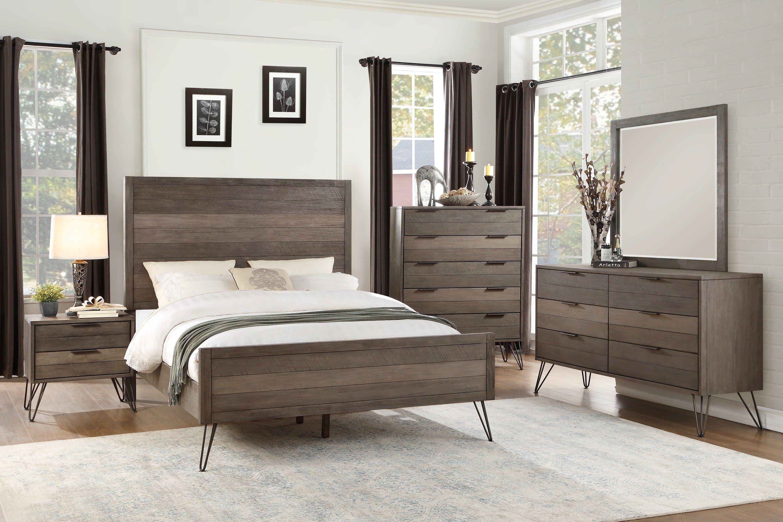 Best Modern Industrial Gray 4 Piece Queen Bedroom Set 640 x 480