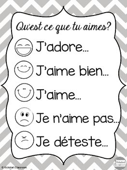 'Qu'est ce que tu aimes?' French Discussion Poster and