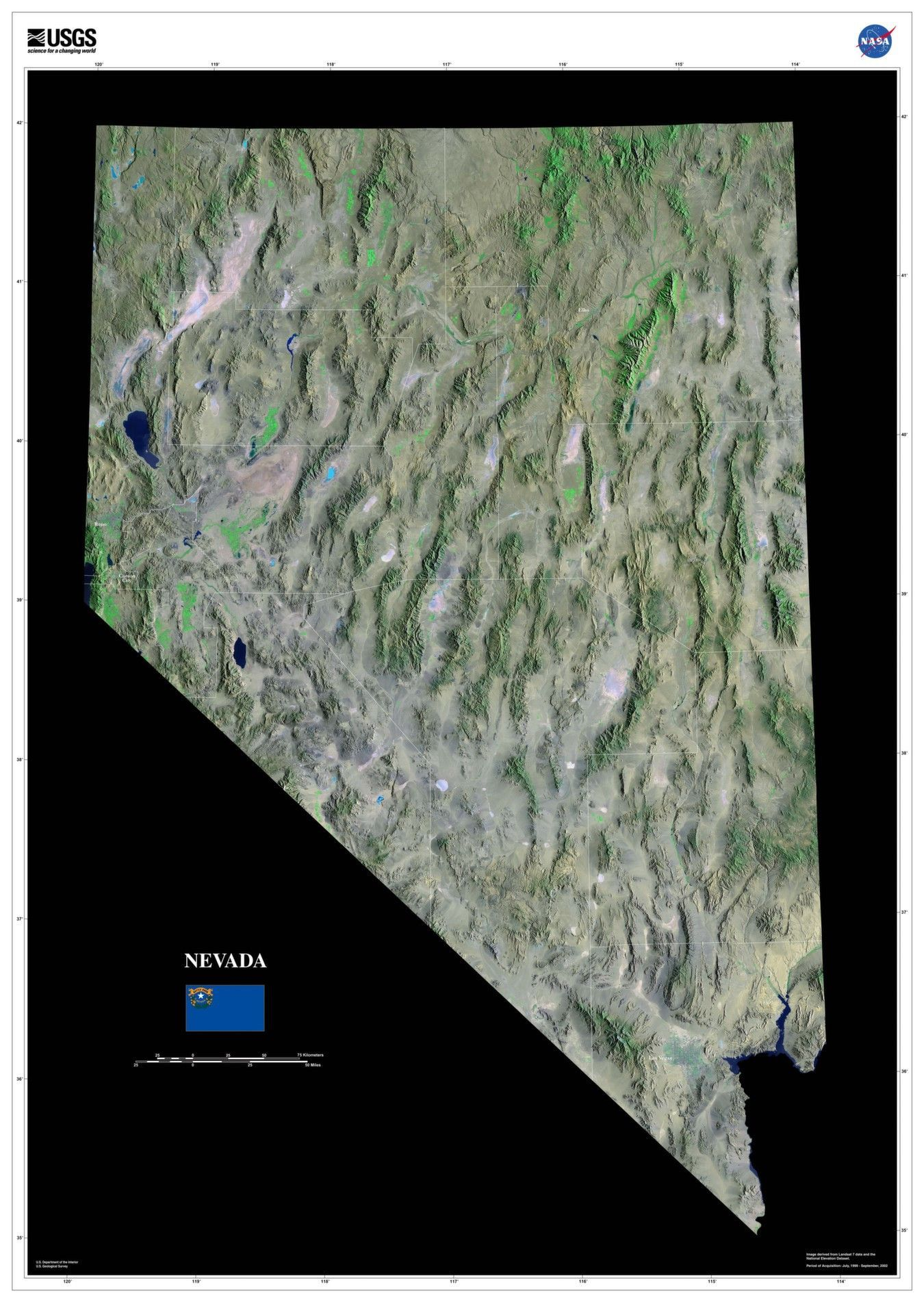 Nevada Satellite Imagery State Map Poster Nevada and City