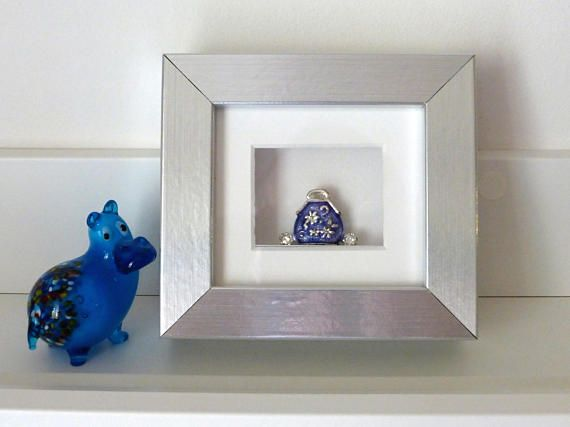 Painted Ornamental Bag Charm in Blue and Silver set in small Box ...