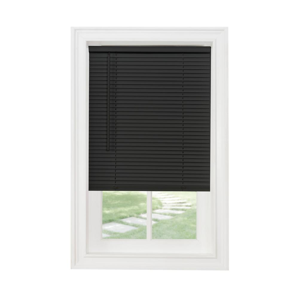 Achim 28 In W X 64 In L Black Cordless 1 In Light Filtering Vinyl Blind Vinyl Blinds Horizontal Blinds Mini Blinds