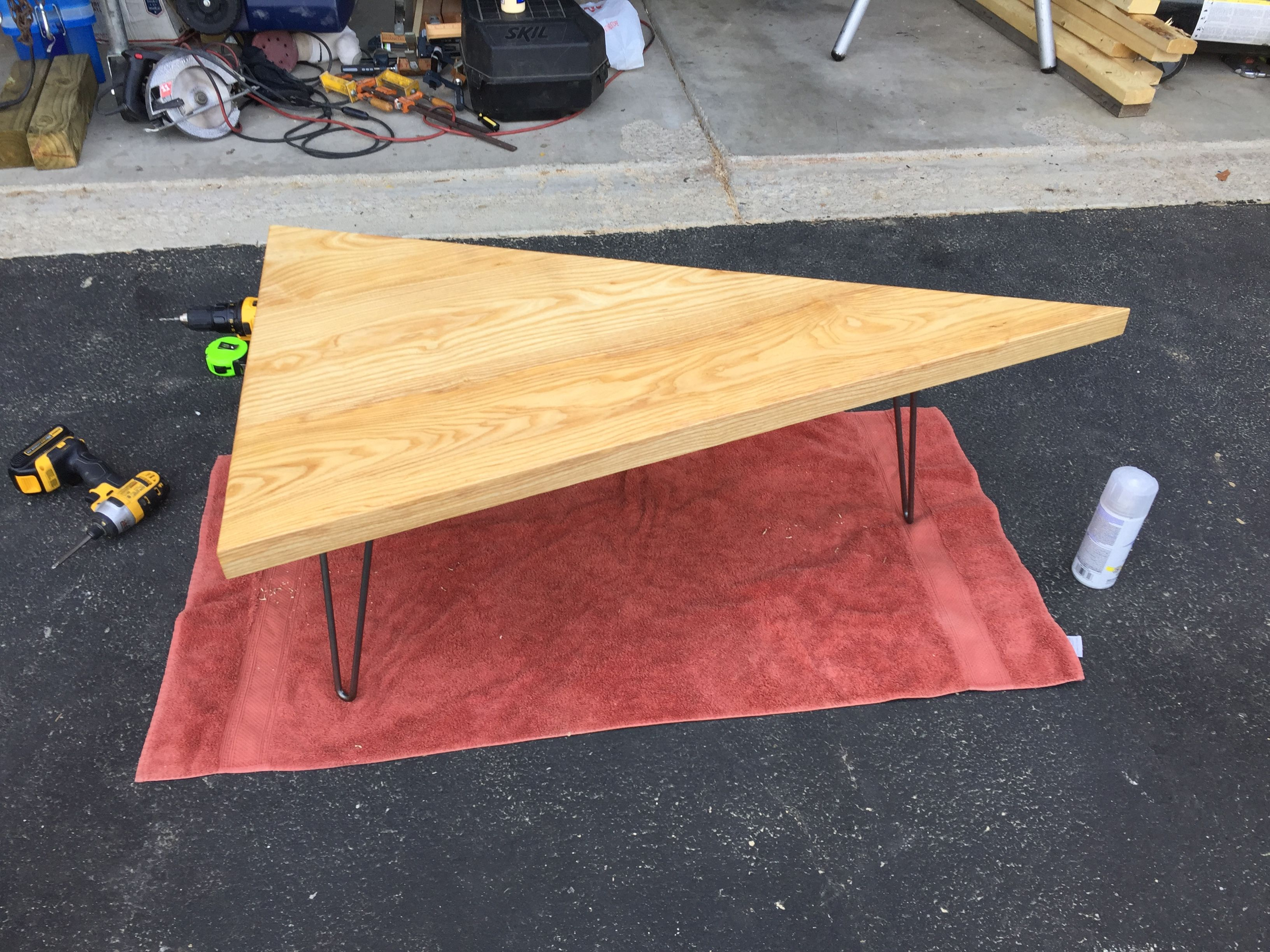 How To Build A Triangle Coffee Table With Hairpin Legs Revival Woodworks Triangle Coffee Table Coffee Table Diy Coffee Table