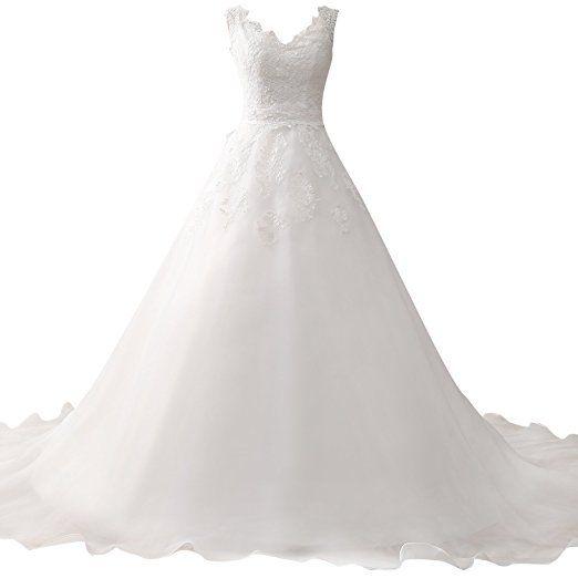 HUINI Eine Linie V-Ausschnitt Organza Hochzeitskleider Spitze ...