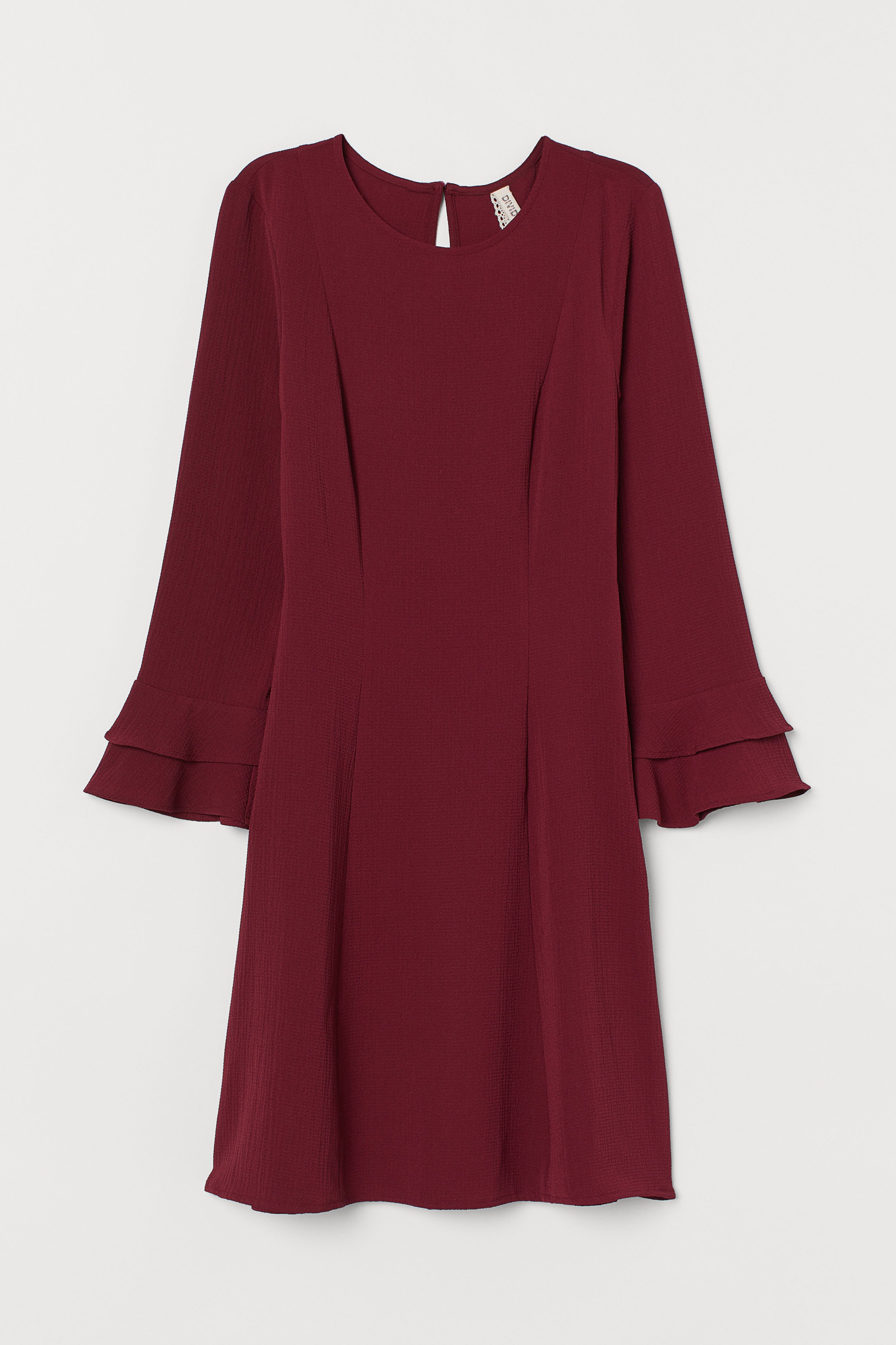 Kleid mit Volantärmeln - Weinrot - Ladies  H&M DE  Kleider