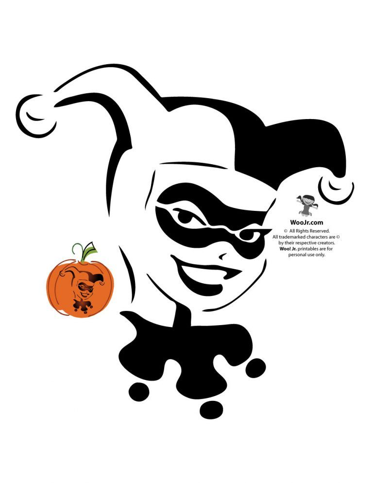 harley quinn pumpkin template  Superman, Batman, Wonder Woman & DC Comics Villains Pumpkin ...