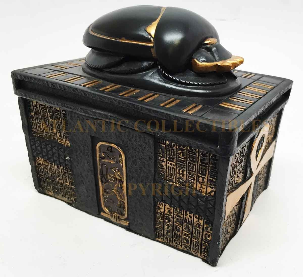 Egyptian Ankh Scarab Amulet Black and Gold Small Trinket Jewelry Box