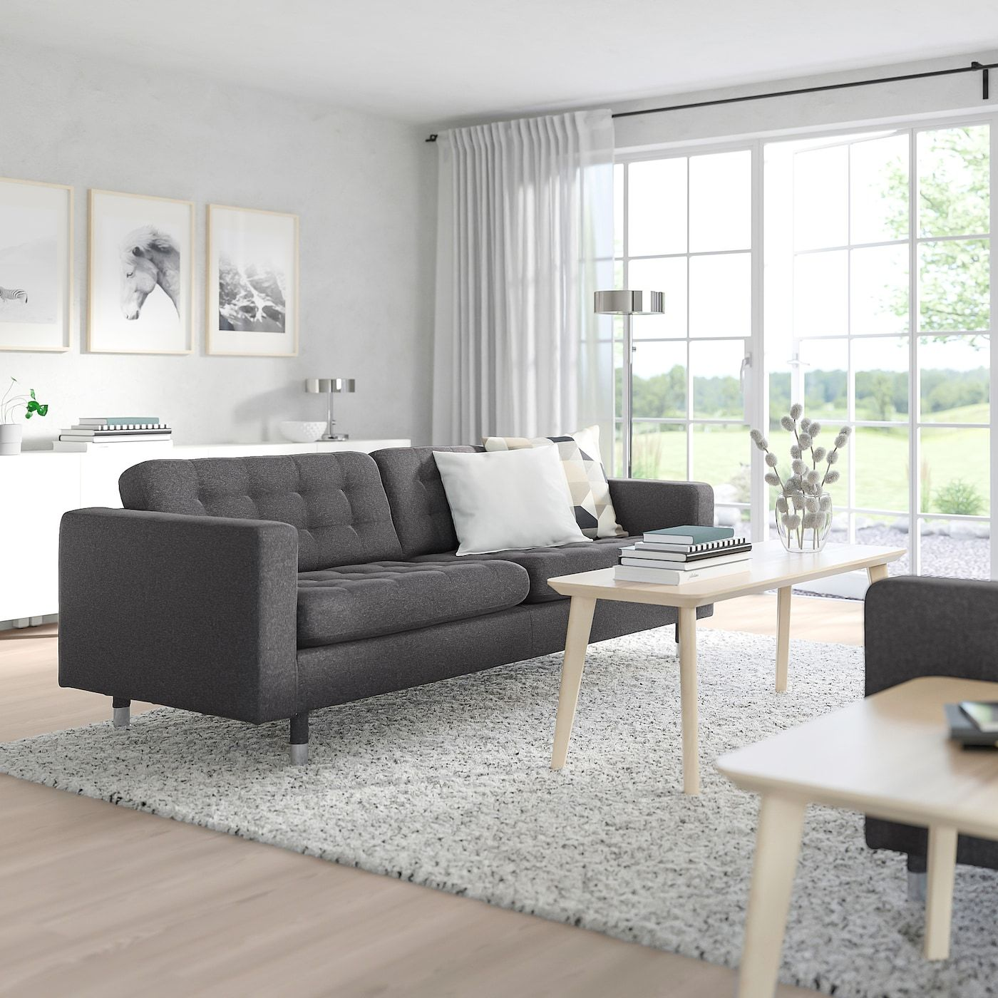 Morabo Sofa Gunnared Dark Gray Width 81 1 8 Height 31 7 8 Get It Today Ikea Grey Couch Living Room Grey Sofa Living Room Dark Grey Couch Living Room