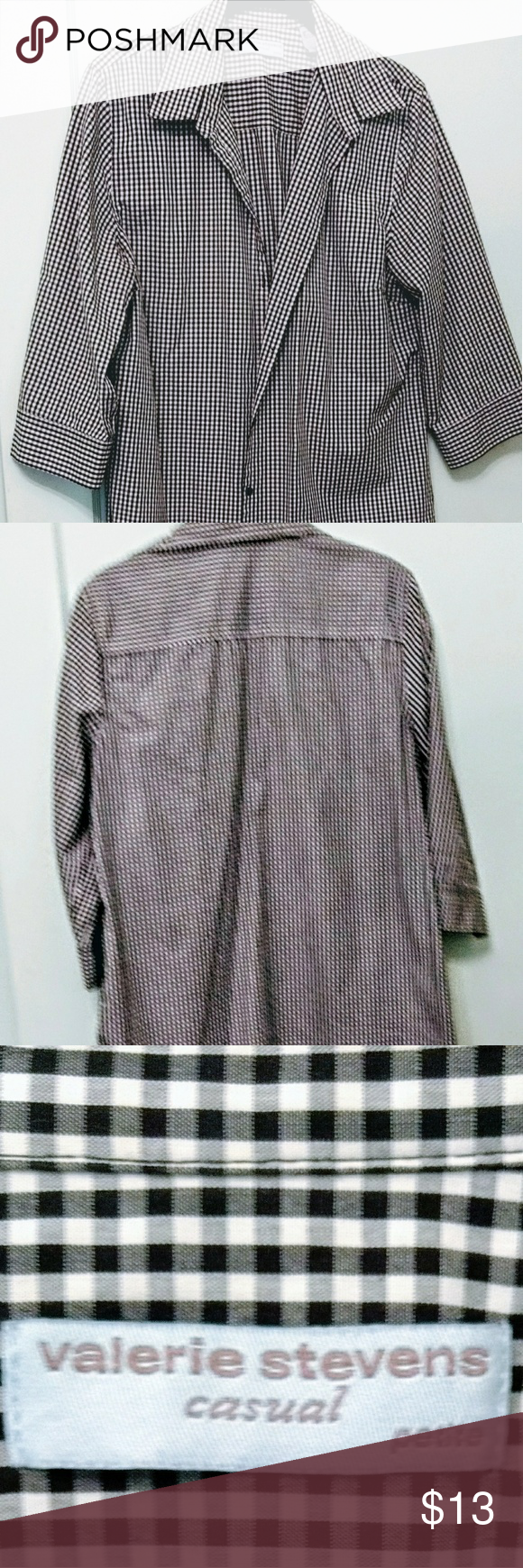 Valerie Stevens Petites 3/4 Sleeve Blouse This Valerie Stevens blouse is a fun black & white check pattern with 3/4 sleeves and black buttons. It is 100 percent cotton. Care: machine wash; tumble dry medium My favorite with this blouse is white jeans. Valerie Stevens Tops Blouses