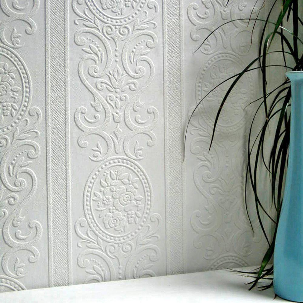 Louisa Paintable Wallpaper White Off Samples