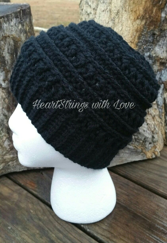 Black Katniss Messy Bun Hat  6638953c11d