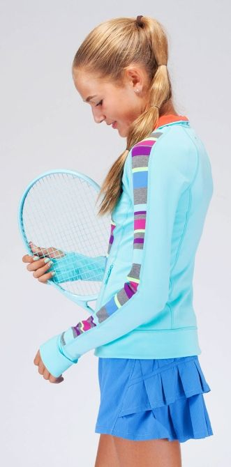 Warm Up And Cool Down In This Sweat Wicking Four Way Stretch Jacket That Can Keep Up With Your Tricky Court Moves Perfect Your Practice J Tennis Clothes Tennis Fashion Tennis Dress