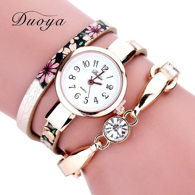 c09d3b6cdad Duoya Watch Women Brand Luxury Gold Flower Women Bracelet Watch Ladies  Dress Vintage Electronic Quartz Wristwatch Clock XR1855