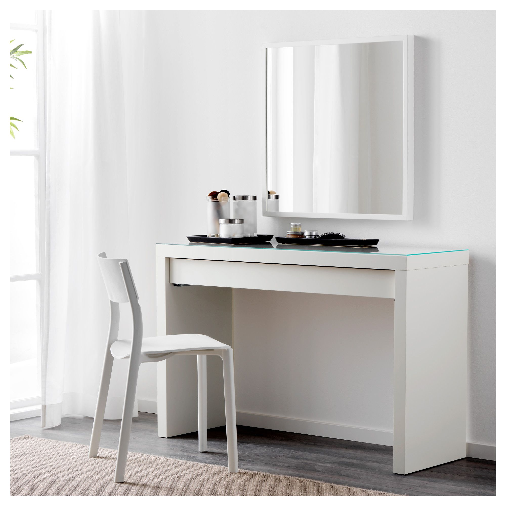 Ikea Malm Dressing Table Smooth Running Drawer With Pull Out Stop White Dressing Tables Malm Dressing Table Minimalist Dressing Tables