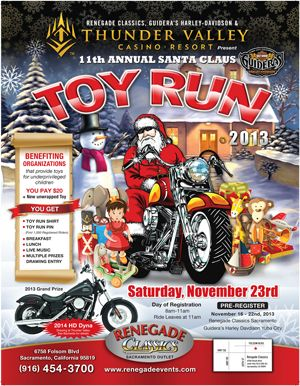 Sacramento Toy Run Charity Events Casino Resort Santa Claus Toys