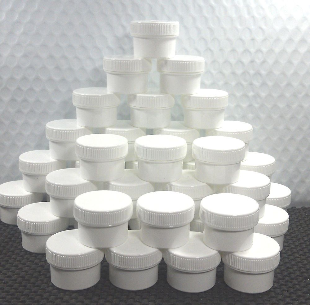 40 White Plastic Jars 1 2oz White Screw Caps Container Makeup Balm 3803 Decojars Plastic Jars Cosmetic Jars Amber Glass Jars