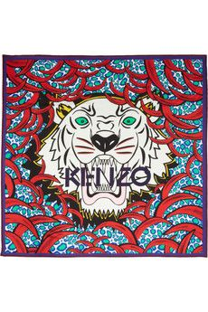 a7e67b42e73 KENZO Tiger printed silk scarf