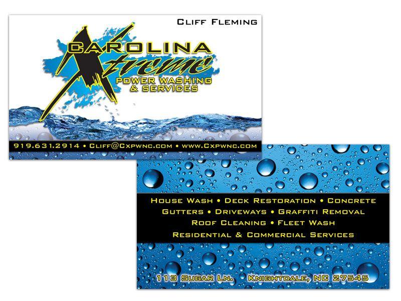 Carolina xtreme power washing double sided business card