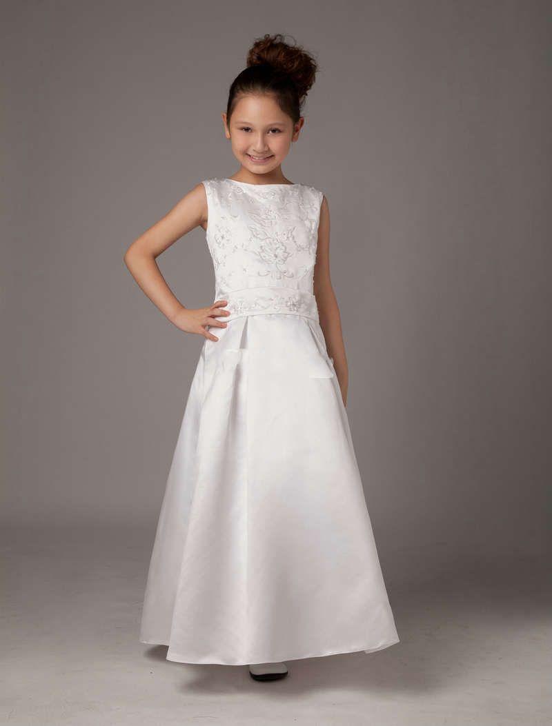 Handmade Embroidery Satin Ankle Length White Flower Girl Dress 7