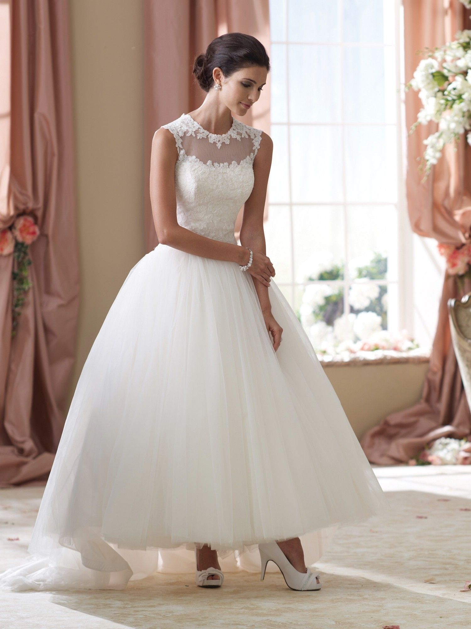 Awesome Romantic tea length wedding dress by David Tutera Style Elsie wedding dresses