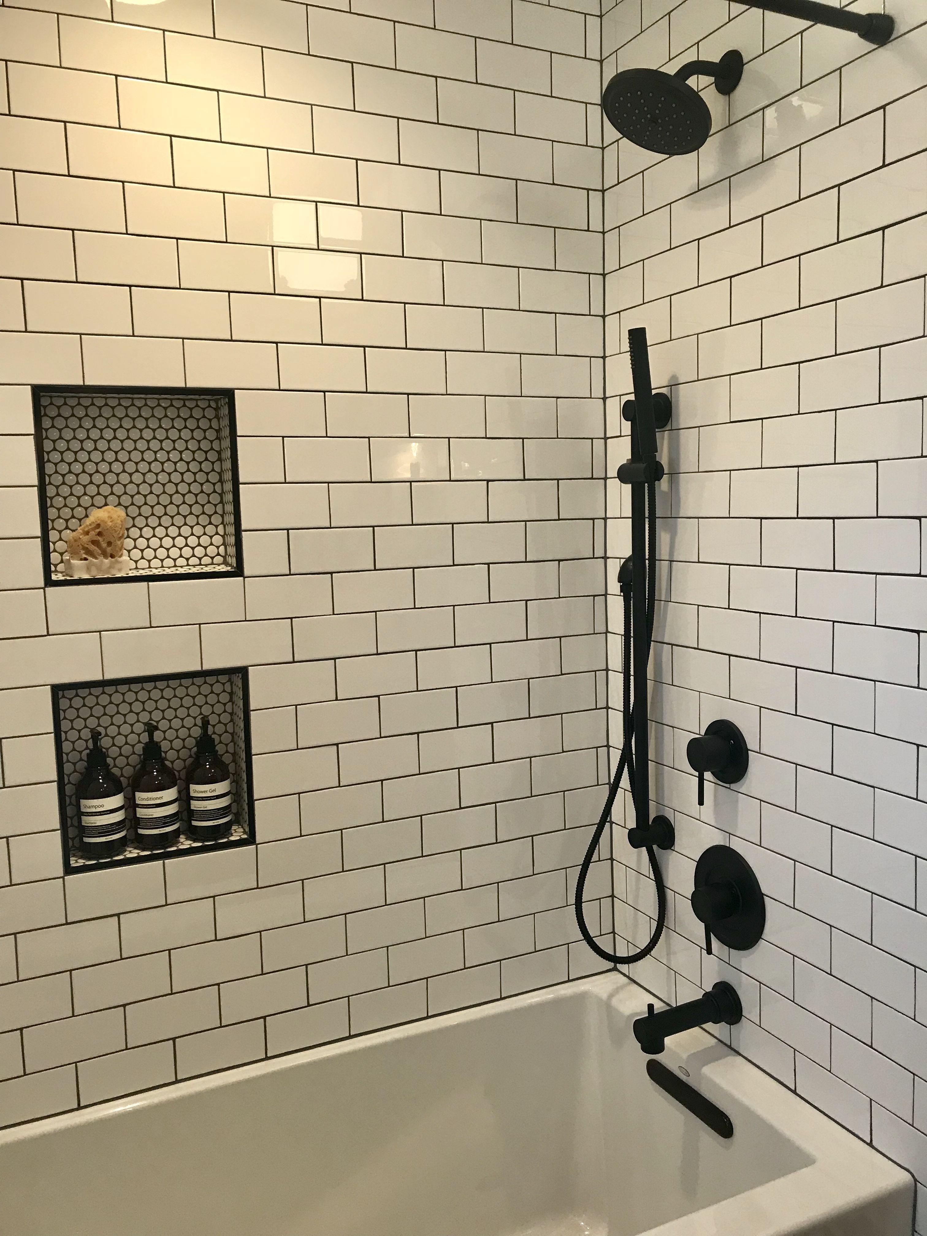 Small Hex Tile In Nook Subway W Grey Grout Kohler Soaking Tub Moen Matte Black Fixtures Bathroom Design Trends Bathroom Trends Bathrooms Remodel