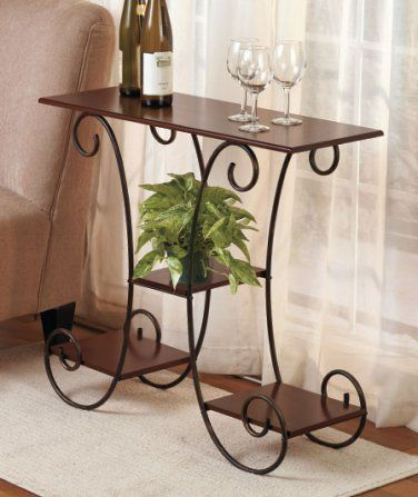 Scrolled Accent Table Wrought Iron Walnut Finish Wood