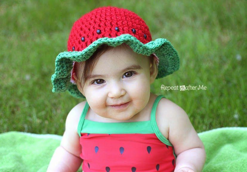 Crochet Watermelon Sun Hat | Wassermelone, Hüte und Englisch
