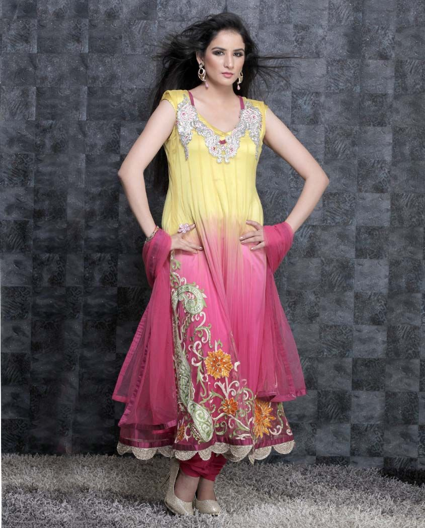 Yellow and Pink Embroidered Net Anarkali Suit