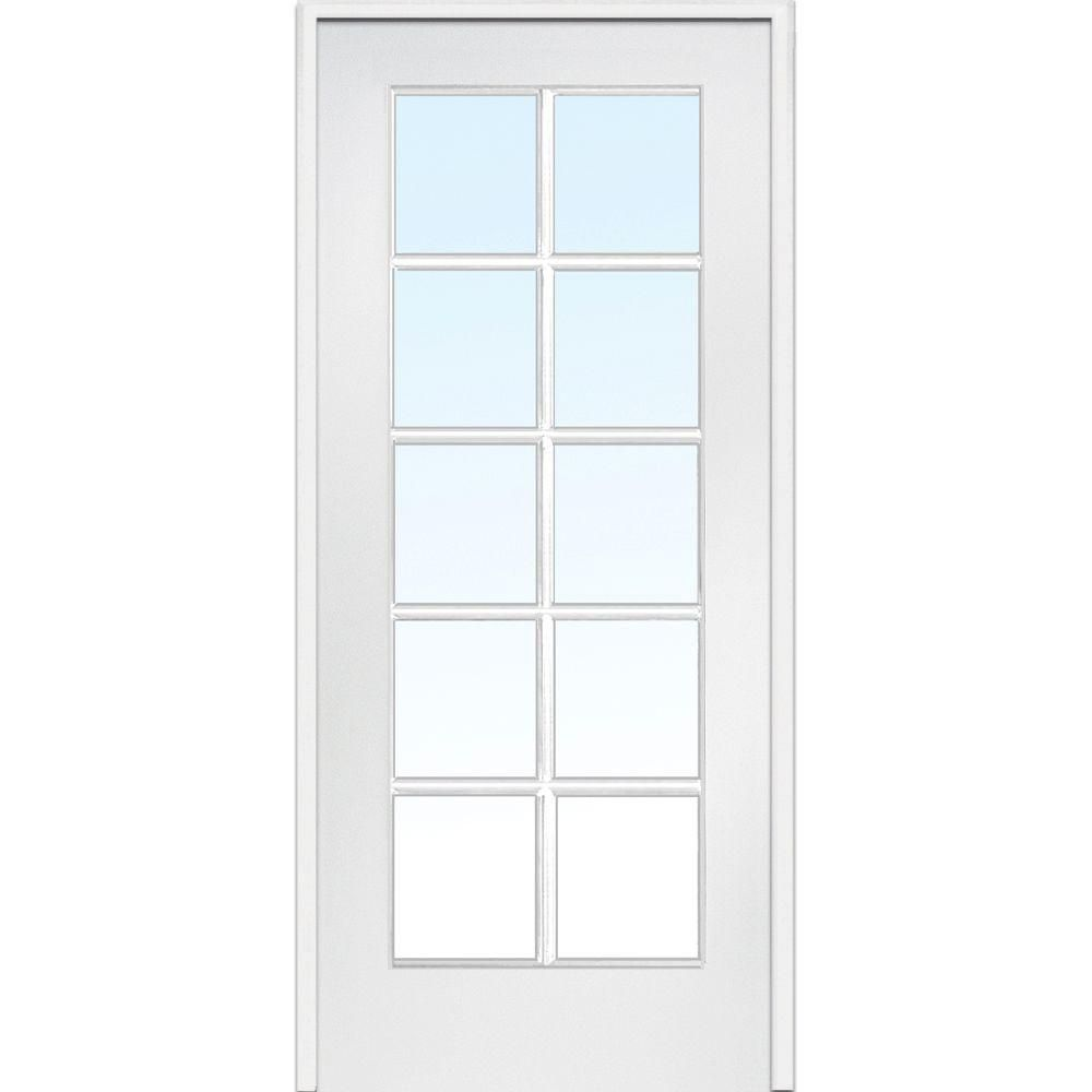 Mmi Door 30 In X 80 In Right Handed Primed Composite Clear Glass 10 Lite True Divided Single Prehung Interior Door Z009303r Glass French Doors Prehung Interior Doors Prehung Interior French Doors