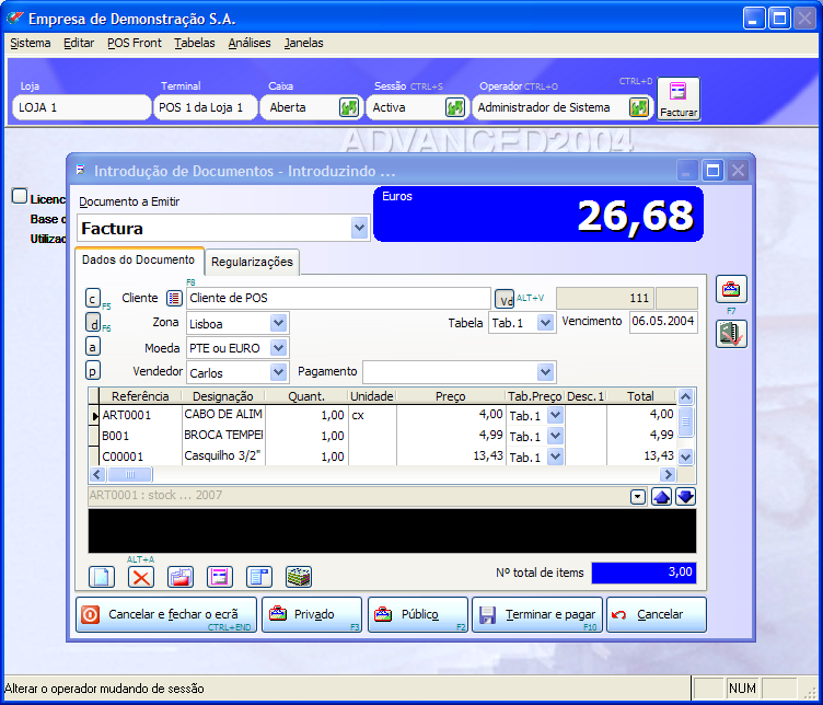 PHC POS CS na sua v2004. Conheça-o na v2012 em http://www.phc.pt/portal/programs/estview.aspx?ref=POS