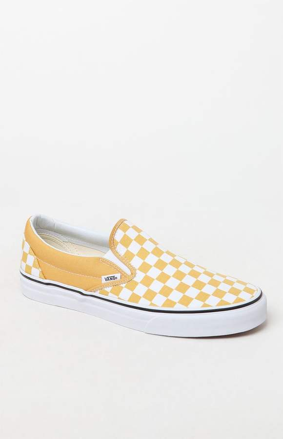Vans Classic Checkerboard Gold   White Slip-On Shoes  0cafbe449846