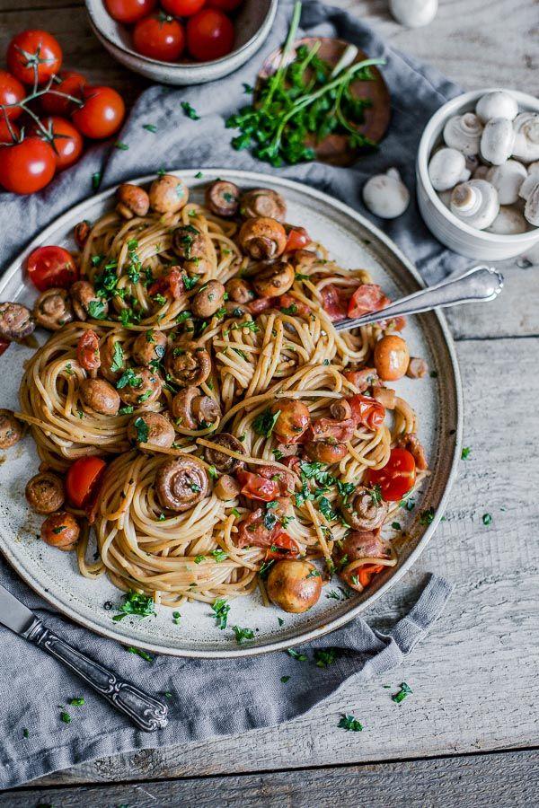Baby Tomato Mushroom Pasta - simple recipe for one