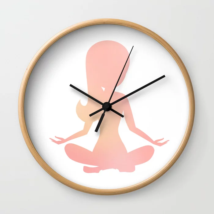 Wall Clock With Cute Watercolor Girl Silhouette Practicing Yoga Relaxation And Meditation Clock Watercolor Girl Girl Silhouette